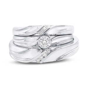 14k White Gold Diamond Trio Set - 0.19ct