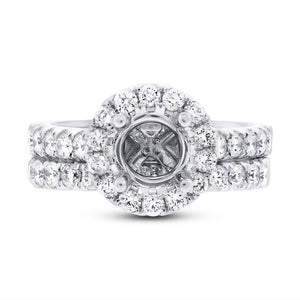 14k White Gold Diamond Semi-mount Ring 2-pc - 1.29ct