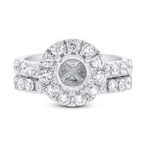 14k White Gold Diamond Semi-mount Ring 2-pc - 1.50ct