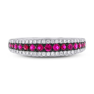 Diamond & 0.39ct Ruby 14k White Gold Ring - 0.21ct