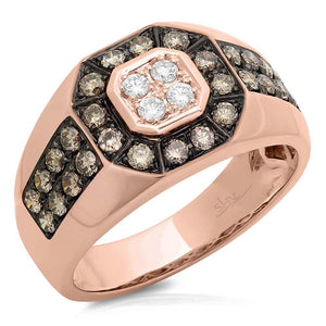 14k Rose Gold White & Champagne Diamond Men's Ring - 1.18ct