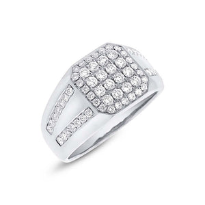 14k White Gold Diamond Men's Ring - 1.15ct
