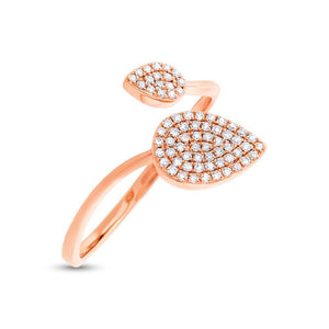 14k Rose Gold Diamond Pave Lady's Ring - 0.20ct