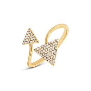 14k Yellow Gold Diamond Triangle Lady's Ring - 0.21ct
