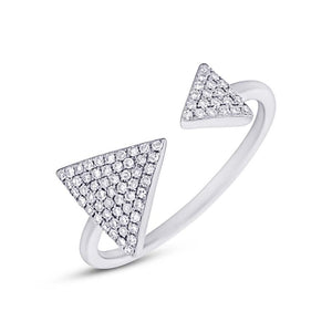14k White Gold Diamond Triangle Lady's Ring - 0.21ct