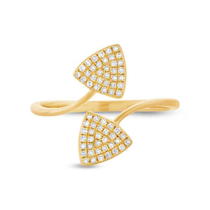 14k Yellow Gold Diamond Triangle Lady's Ring - 0.18ct