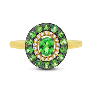 Diamond & 0.84ct Green Garnet 14k Yellow Gold Ring - 0.08ct