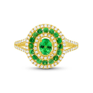 Diamond & 0.82ct Green Garnet 14k Yellow Gold Ring - 0.37ct