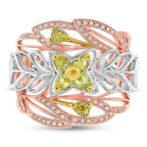 18k Three-tone Gold White & Fancy Color Diamond Ring - 0.74ct
