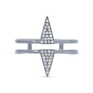14k White Gold Diamond Pave Triangle Ring - 0.11ct