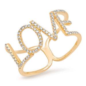14k Yellow Gold Diamond ''Love'' Ring - 0.20ct
