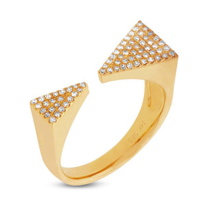 14k Yellow Gold Diamond Pave Triangle Ring - 0.22ct