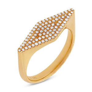 14k Yellow Gold Diamond Pave Lady's Ring Size 6.5 - 0.25ct