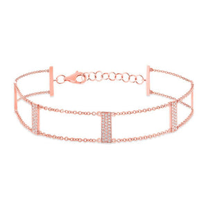 14k Rose Gold Diamond Ladder Bracelet - 0.40ct