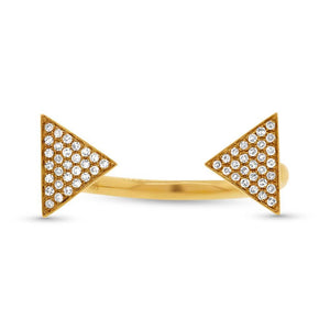 14k Yellow Gold Diamond Pave Triangle Ring - 0.17ct