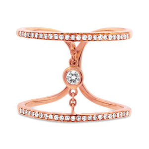 14k Rose Gold Diamond Lady's Ring Size 5.5 - 0.24ct