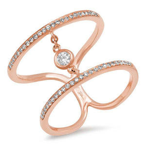 14k Rose Gold Diamond Lady's Ring Size 8.5 - 0.24ct
