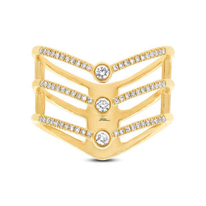 14k Yellow Gold Diamond Lady's Ring Size 6.5 - 0.30ct