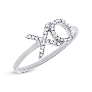 14k White Gold Diamond ''XO'' Ring - 0.09ct
