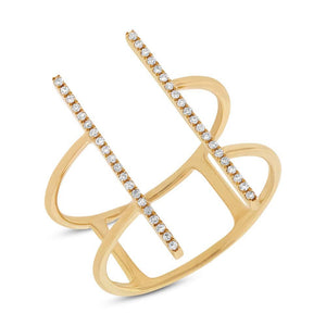 14k Yellow Gold Diamond Bar Lady's Ring