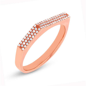 14k Rose Gold Diamond Pave Lady's Ring - 0.15ct