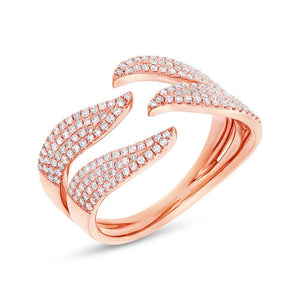 14k Rose Gold Diamond Pave Lady's Ring - 0.50ct