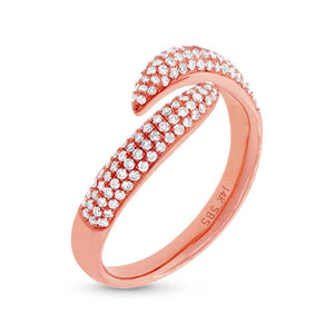 14k Rose Gold Diamond Pave Lady's Ring - 0.43ct