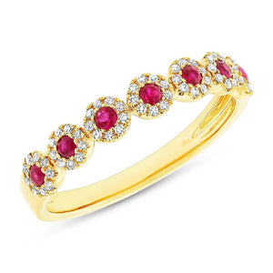 Diamond & 0.24ct Ruby 14k Yellow Gold Lady's Band