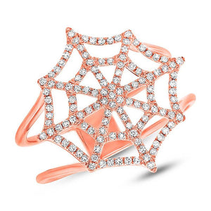 14k Rose Gold Diamond Spider Web Ring - 0.32ct