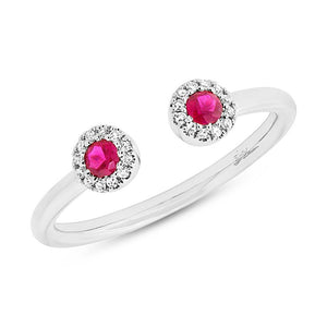 Diamond & 0.20ct Ruby 14k White Gold Lady's Ring