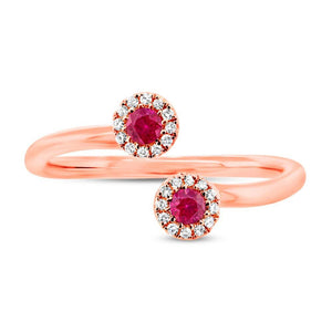 Diamond & 0.20ct Ruby 14k Rose Gold Lady's Ring