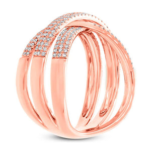 14k Rose Gold Diamond Pave Bridge Ring - 0.60ct