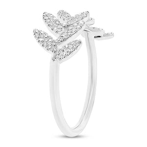 14k White Gold Diamond Leaf Lady's Ring - 0.31ct
