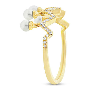Diamond & 0.17ct Fresh Water Pearl 14k Yellow Gold Ring - 0.13ct