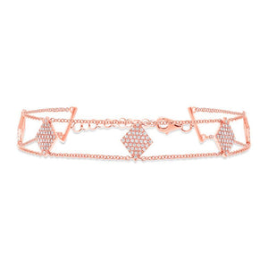 14k Rose Gold Diamond Pave Lady's Bracelet - 0.41ct