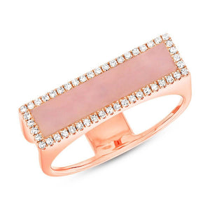 Diamond & 0.80ct Pink Opal 14k Rose Gold Lady's Ring - 0.15ct