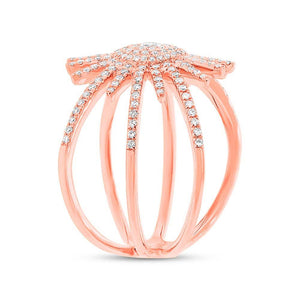 14k Rose Gold Diamond Lady's Ring - 0.58ct