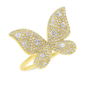 14k Yellow Gold Diamond Butterfly Lady's Ring - 0.72ct