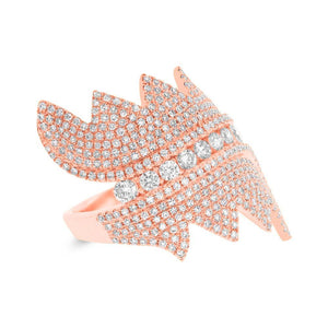 14k Rose Gold Diamond Pave Lady's Ring - 1.28ct