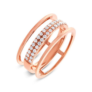 14k Rose Gold Diamond Lady's Ring - 0.34ct