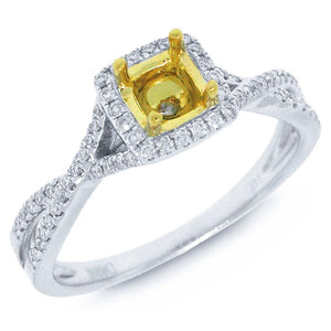 14k Two-tone Gold Diamond Semi-mount Ring - 0.18ct