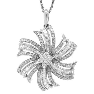 14k White Gold Diamond Flower Pendant - 1.50ct