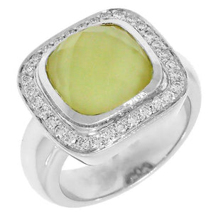 Diamond & Yellow Quartz 18k White Gold Ring - 0.35ct