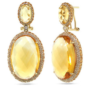Diamond & 43.98ct Citrine & Yellow Sapphire 14k Yellow Gold Earring - 1.15ct