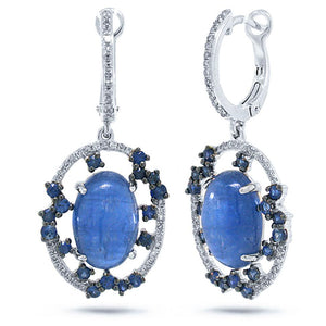 Diamond & 8.83ct Kyanite & Blue Sapphire 14k White Gold Earring - 0.27ct