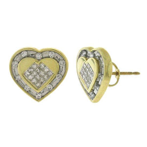 14k Yellow Gold Diamond Invisible Heart Earring - 0.50ct