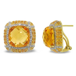 Diamond & 15.23ct Citrine & 1.92ct Yellow Sapphire 14k Yellow Gold Earring - 0.62ct