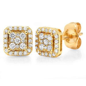14k Yellow Gold Diamond Square Stud Earring - 0.22ct