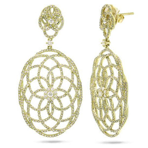 14k Yellow Gold Diamond Lace Earring - 2.58ct