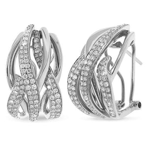 14k White Gold Diamond Earring - 1.37ct